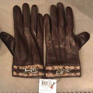 Coach brown leather gloves